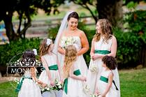Green Sash Wedding Dress