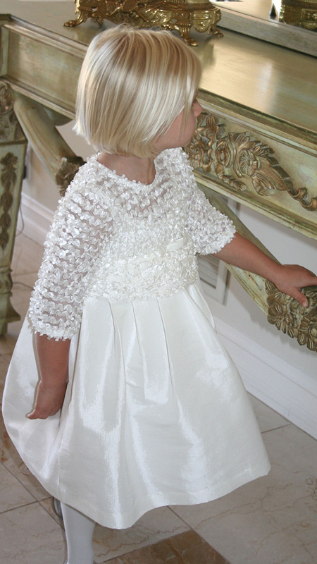 Custom Flower Girl Flutter 3/4 Sleeve Dress