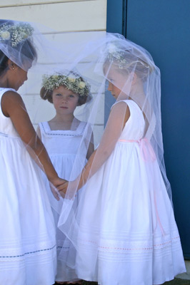 Custom Flower Girl Ribbons Dress with Pink and Blue