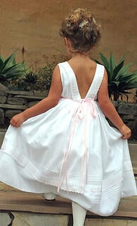 Custom Flower Girl Ribbons Dress with Pink