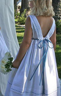 Custom Flower Girl Ribbons Dress with Blue