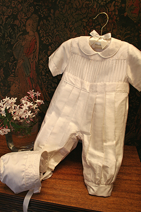 Tucks Boys Christening Romper