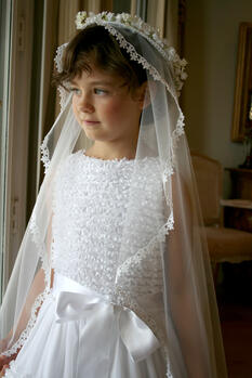 Communion Veil and Floral Crown