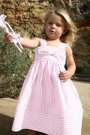 Big Bow Easter Dress Pink Stripes