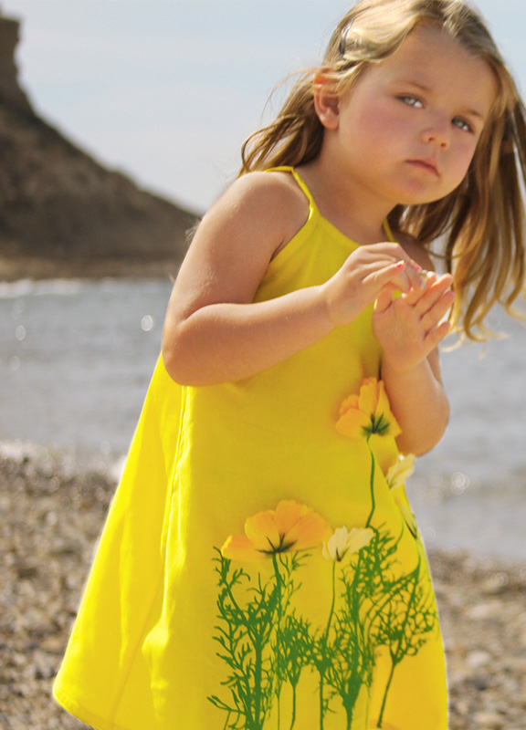 Yellow Cotton with Flowers Easter Dress