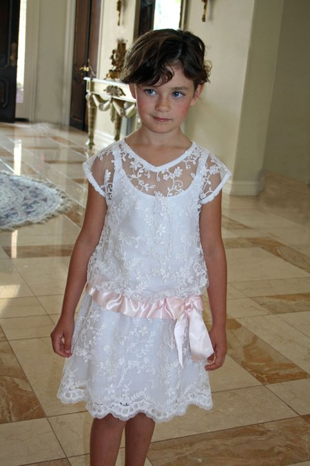 Lacy Girls Dress with Pink Ribbon