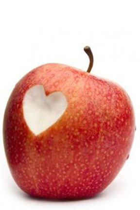 heart, healthy snack, apple,love school