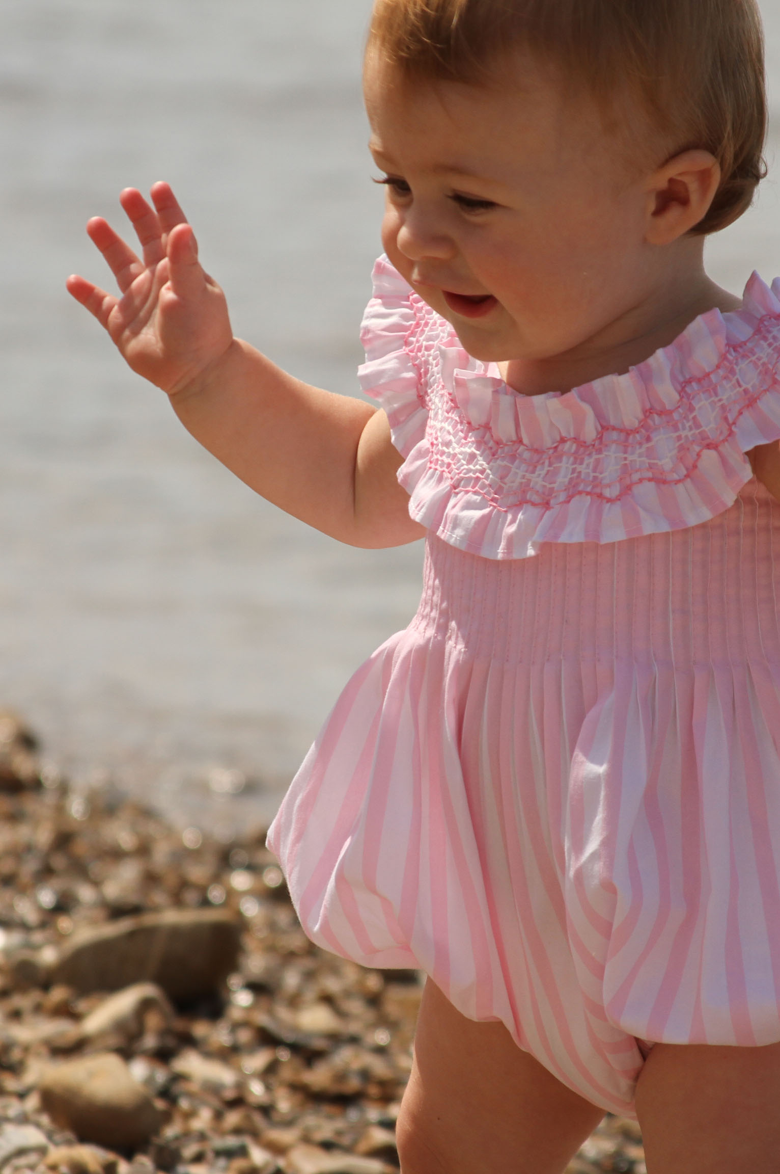 Smocked Easter Bubble Pink Stripes