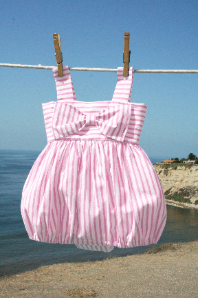 Big Bow Easter Bubble Pink Stripes