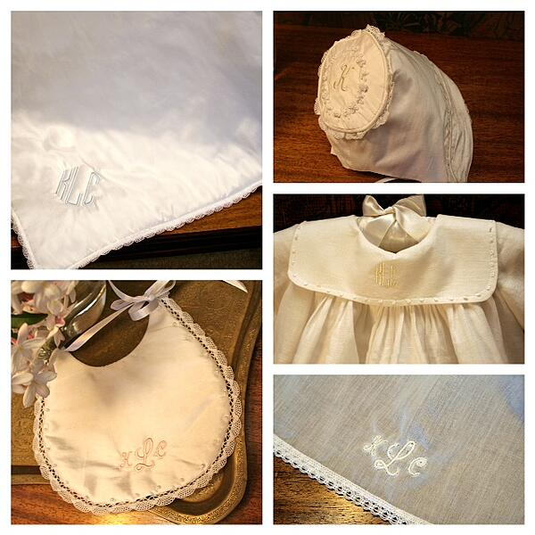 Monogram Accessories, bib, bonnet, blanket