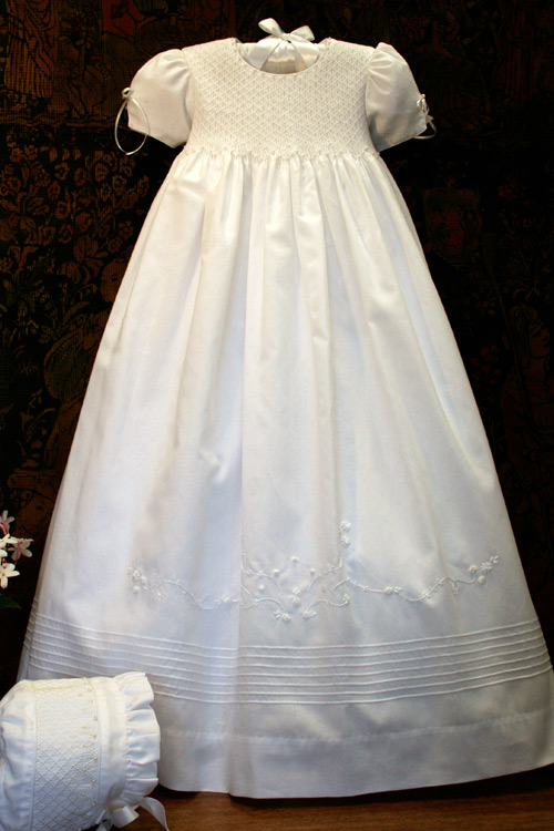 Pearls Smocked Girls Christening Gown
